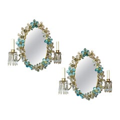 Pair of Mirrored Sconces with Crystal Flowers