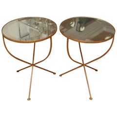 Pair of Mirrored Top Side Tables