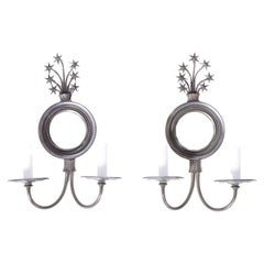 Pair of Mirrored Wall Sconces with Stars
