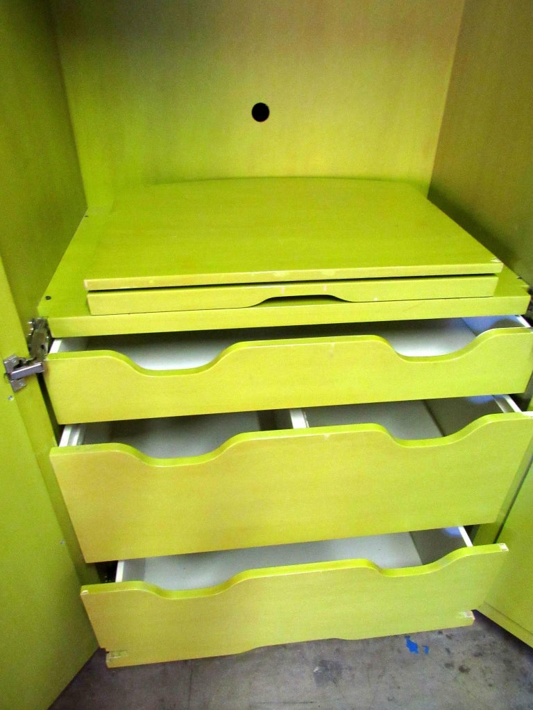 Pair Of Mirrored Wardrobe Armoires In Mod Pop Lime Green