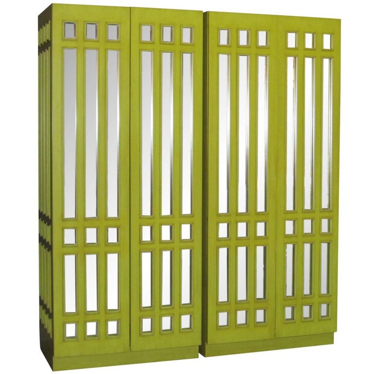 Pair of Mirrored Wardrobe Armoires in Mod Pop Lime Green Lacquer, circa 1970s
