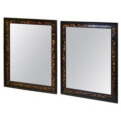 Pair of Mirrors Framed in Black Wood and Trimmed with Faux Tortoise Design