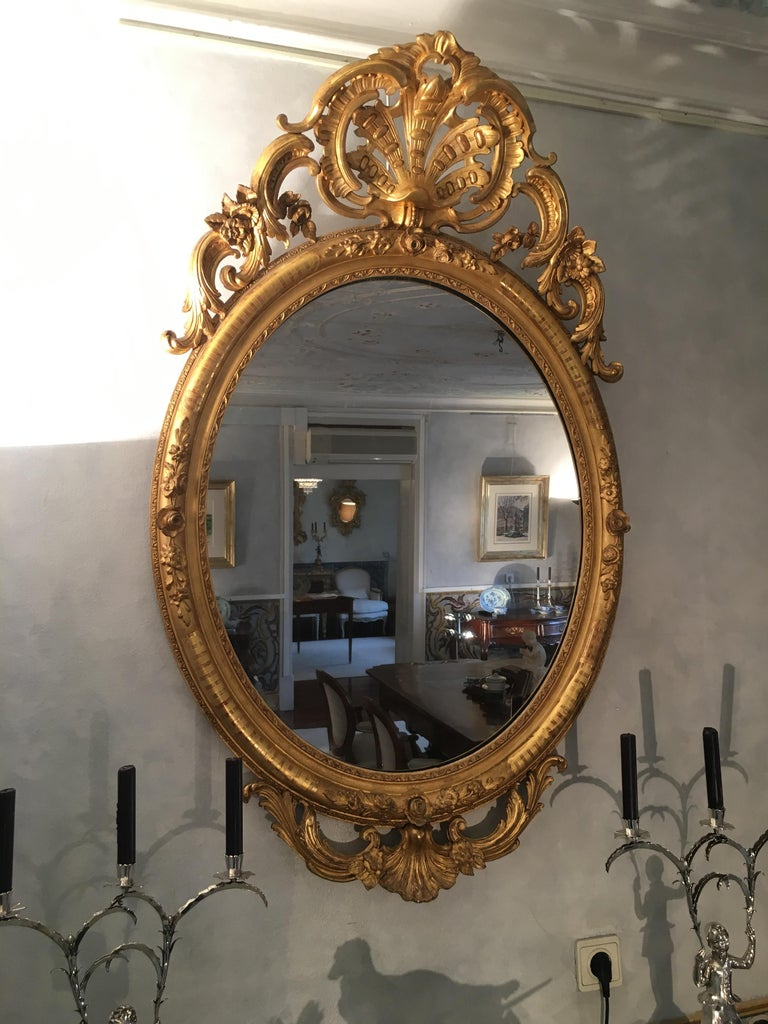 Gilt Pair of Mirrors in Carved and Guilt wood. French, 19th century  For Sale