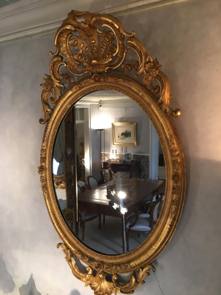 Pair of Mirrors in Carved and Guilt wood. French, 19th century  In Good Condition For Sale In Lisbon, PT