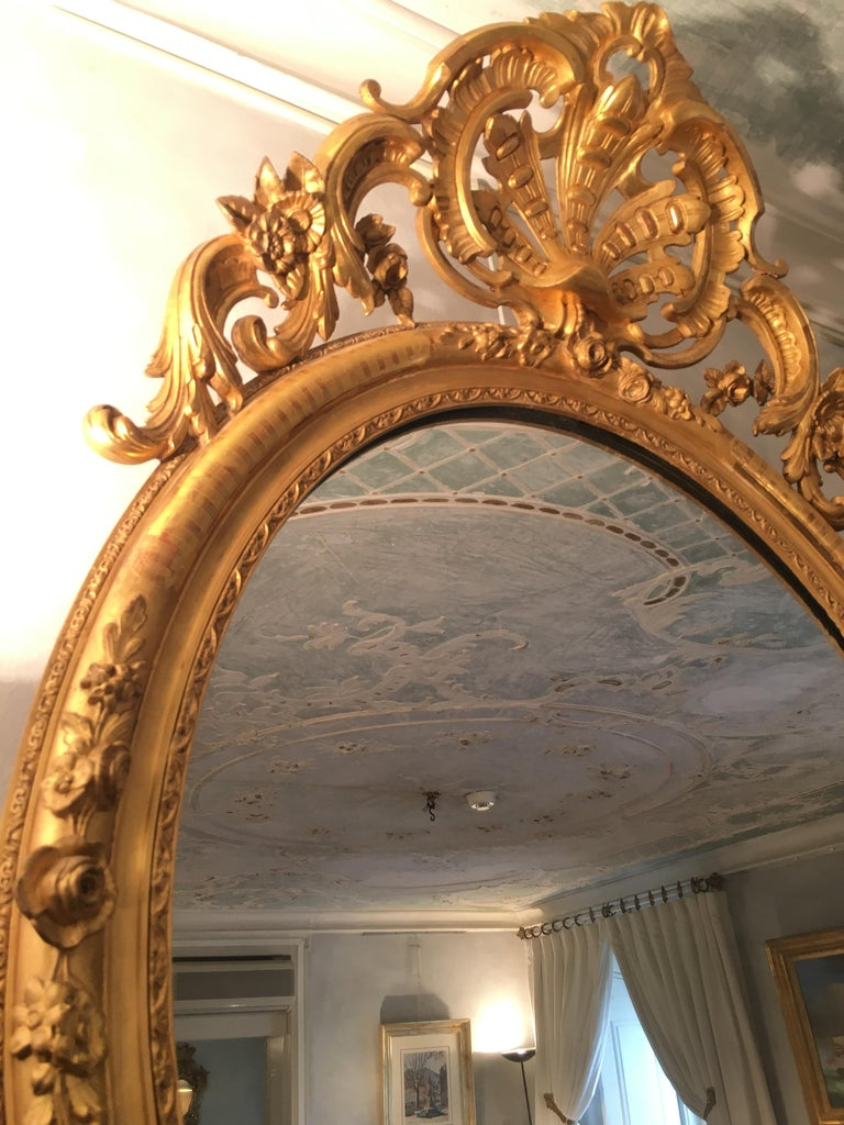 Giltwood Pair of Mirrors in Carved and Guilt wood. French, 19th century  For Sale
