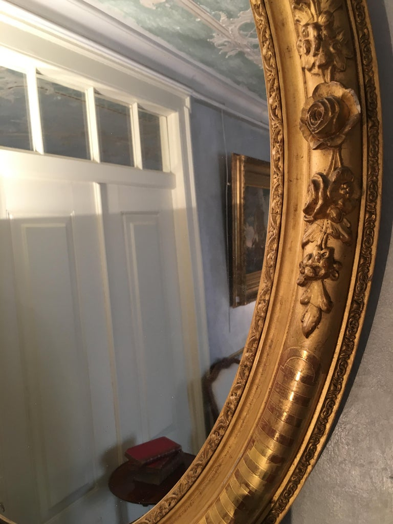 Pair of Mirrors in Carved and Guilt wood. French, 19th century  For Sale 1