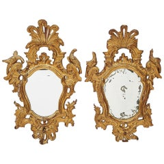 Pair of Mirrors in Carved and Guilt Wood, Spanish, 18th Century