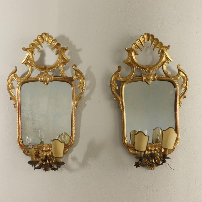 Rococo Revival Pair of Mirrors Rococo, Italy, Mid-19th Century For Sale
