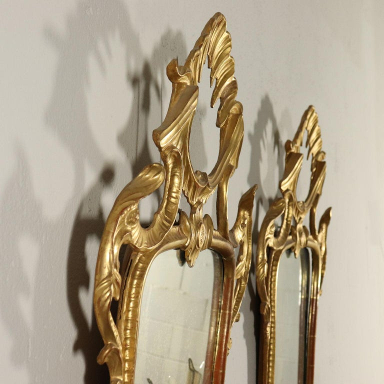 Pair of Mirrors Rococo, Italy, Mid-19th Century For Sale 1