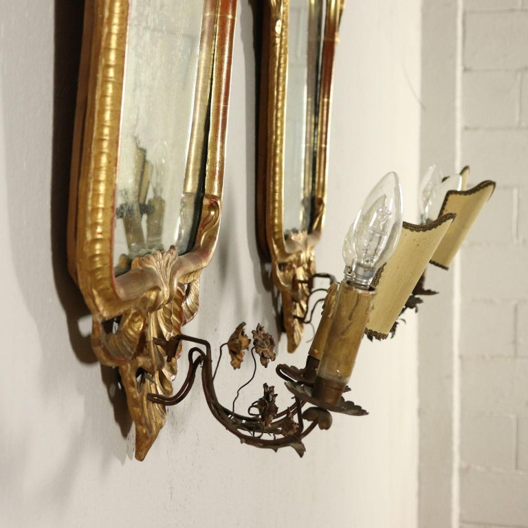 Pair of Mirrors Rococo, Italy, Mid-19th Century For Sale 2