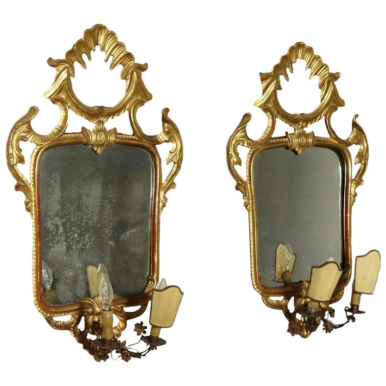 Pair of Mirrors Rococo, Italy, Mid-19th Century For Sale