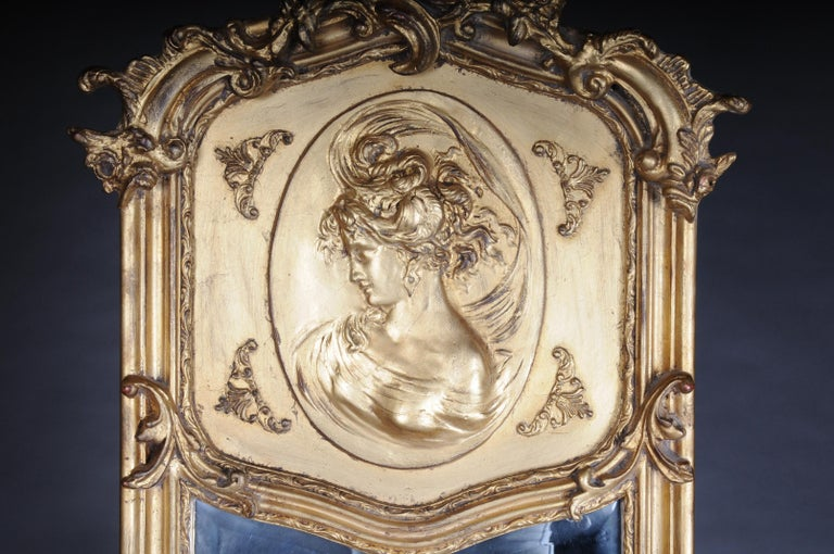 Wood Pair of Mirrors or Wall Mirror in Louis XV / Baroque Style For Sale