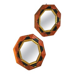 Pair of Mirrors with a Worked Hexagonal Frame