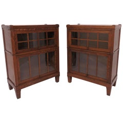 Pair of Mission Oak Arts & Crafts Barrister Bookcase Cabinets by Macey Co.