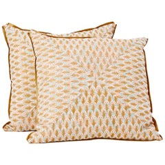 Pair of Mitered Fortuny Fabric Cushions in the Puimette Pattern