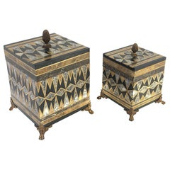 Pair of Mix Marble and Brass Footed Boxes by Maitland Smith