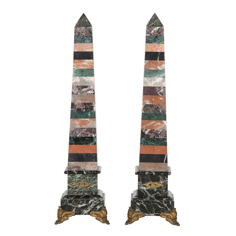 Pair of mixed marble obelisks, 18th century, offered by Beagle Decorative