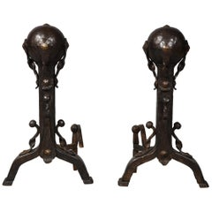 Pair of Mixed Metal Andirons