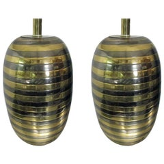 Pair of Mixed Metal Honeycomb Lamps