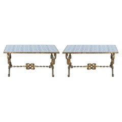 Pair of Mizner Style Cocktail Tables with Tiled Tops
