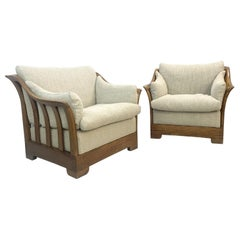 Pair of Mobil Girgi Armchairs, Wood and New Upholstery