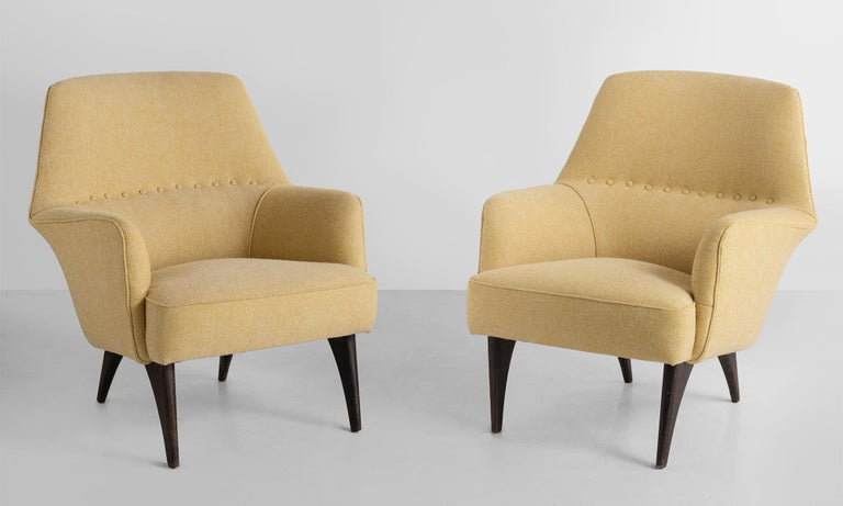 Pair of mod armchairs by Bergamo Isa, Italy, circa 1950.  Newly reupholstered in wool fabric by Maharam.