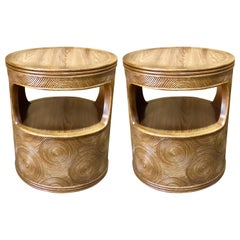 Pair of Mod Bamboo and Reed Round End Tables