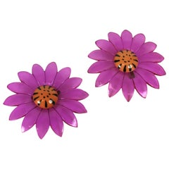 Pair of Mod Lucite Daisy Brooches