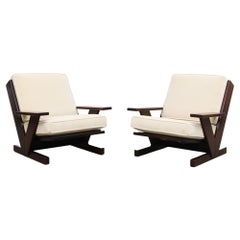 Pair of MOD Wenge and Mohair Lounge Chairs