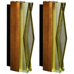 Pair of Model 1829 Wall Sconces by Max Ingrand for Fontana Arte