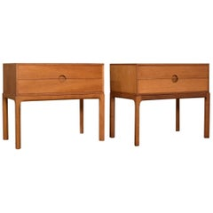 Pair of Model 384 Oak Nightstands by Kai Kristiansen for Aksel Kjersgaard