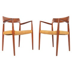 Pair of Model 57 Teak Armchairs by Niels Otto Moller