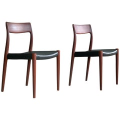 Pair of Model # 77 Teak Dining or Side Chairs by N.O. Møller, Denmark, 1959