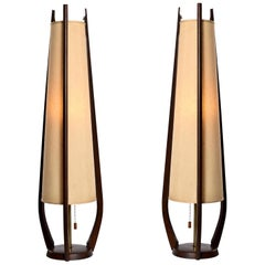 Pair of Modeline Sculpted Spire Cone Shade Walnut Table Lamp, circa 1950s