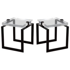 Pair of Modern Acrylic and Metal Side Tables