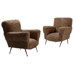Pair of Modern Armchairs in Faux Wool, Italy, 1950