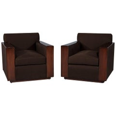 Pair of Modern Art Deco Inspired Club Chairs Brook Street by Ralph Lauren