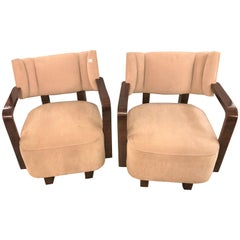 Pair of Modern Art Deco Rosewood Club Bergère or Lounge Chairs