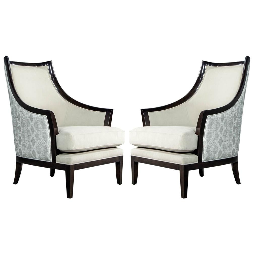 Pair of Modern Art Deco Style Curved Back Lounge Chairs