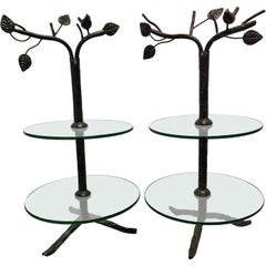 Pair of Modern Art Deco Tree Flower Round Two Tiered Glass Side End Tables