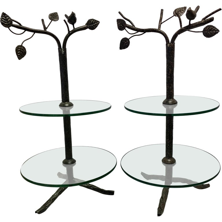 Pair Of Modern Art Deco Tree Flower Round Two Tiered Glass Side End