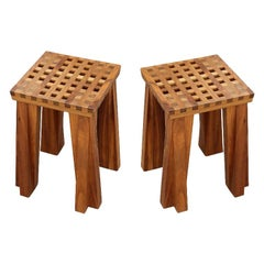 Pair of Modern Arts & Crafts Style Solid Wood Bell Design Studio Stools