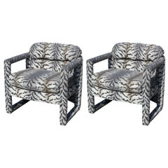 Pair of Modern Barrel Back Parson Style Club Chairs by Drexel in Tiger Print