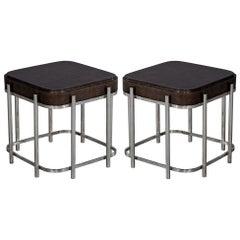 Pair of Modern Bauhaus Inspired End Tables