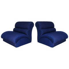 Pair of Modern Biomorphic Lounge Chairs by Weiman, 1980s