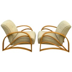 Pair of Modern Birch Club Chairs in the Style of Paul Frankl