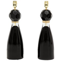 Pair of Modern Black and Gold Murano Glass Lamps, Italy, Signed
