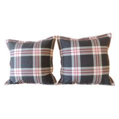 Pair of Modern Black and White Cotton Plaid Square Decorative Pillows