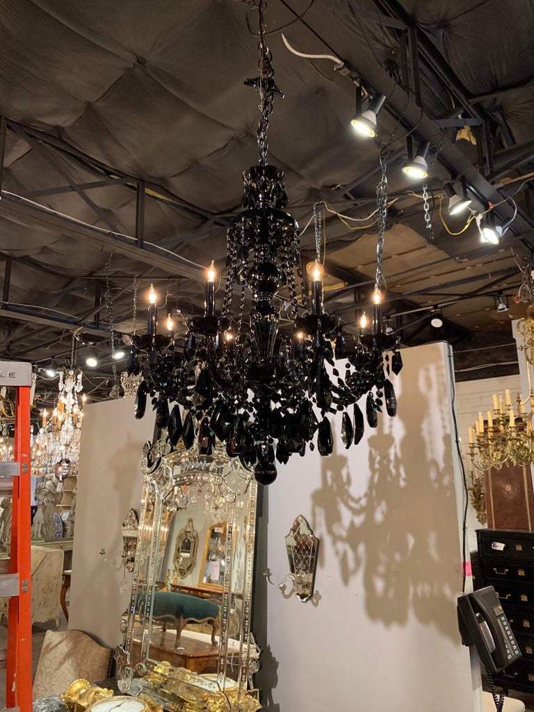 Pair of Modern Black Crystal 8-Light Chandeliers In Good Condition For Sale In Dallas, TX