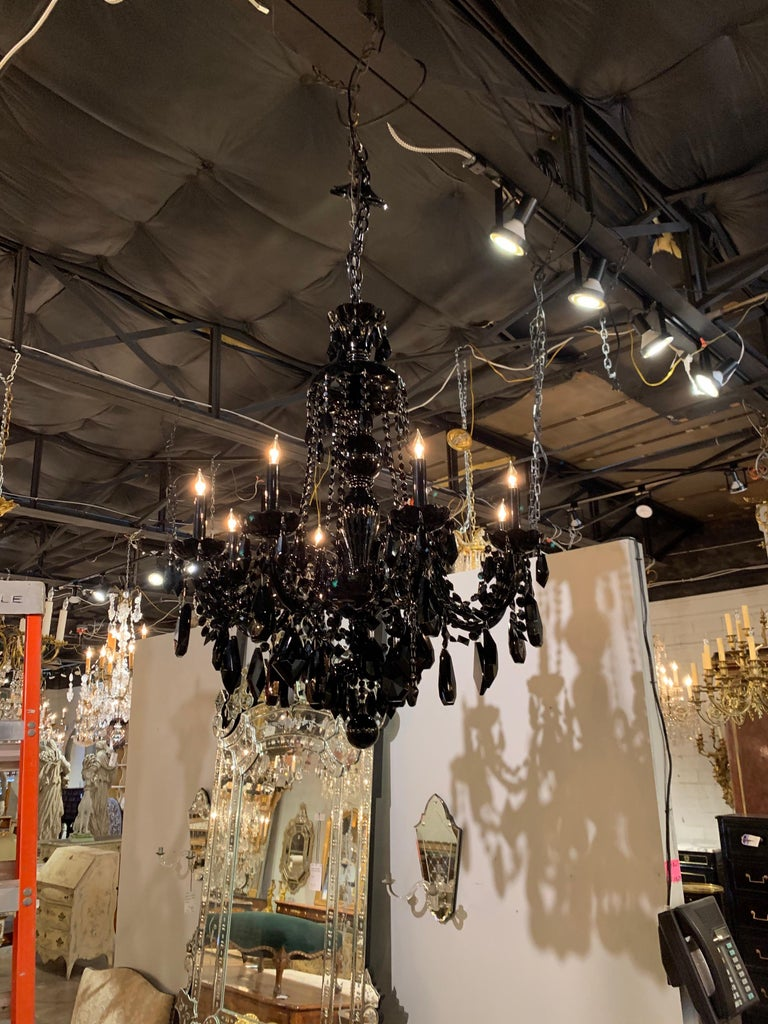 Pair of Modern Black Crystal 8-Light Chandeliers For Sale 2